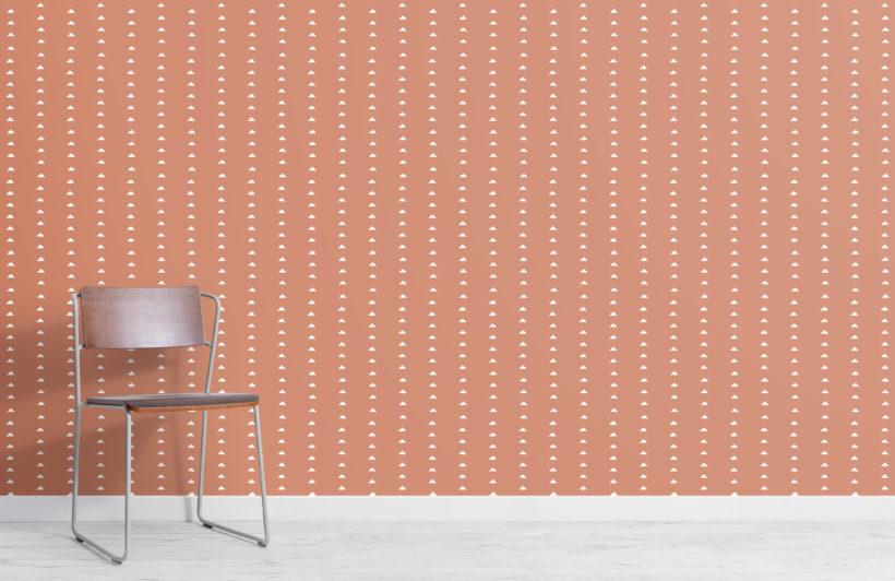 terracotta minimal triangle repeat pattern wallpaper
