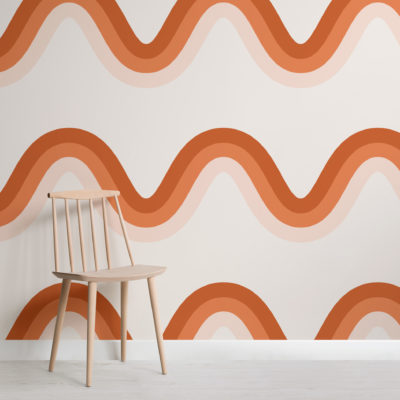 terracotta orange 70s retro waves wallpaper mural