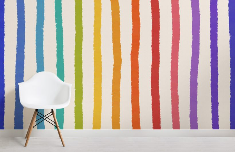 textured crayon rainbow stripes wallpaper mural