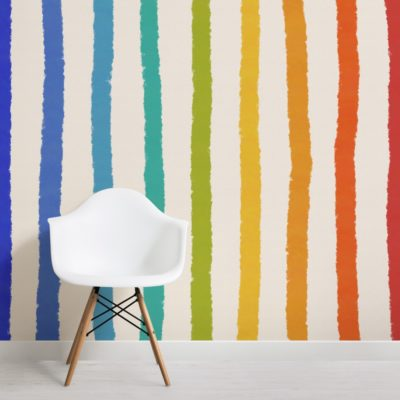 textured crayon rainbow stripes wallpaper mural