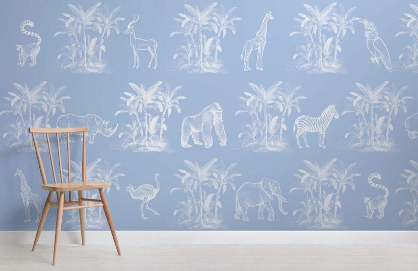 toile de la jungle-vintage explorer-room-wall mural-kj