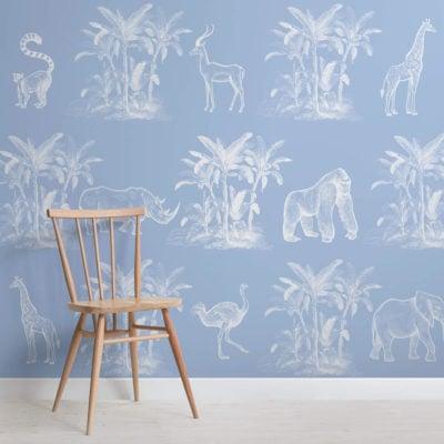 toile de la jungle-vintage explorer-square-wall mural-kj