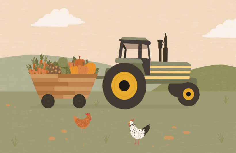 tractor farm scene illustration kids wallpaper mural