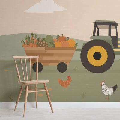 tractor farm scene illustration kids wallpaper mural