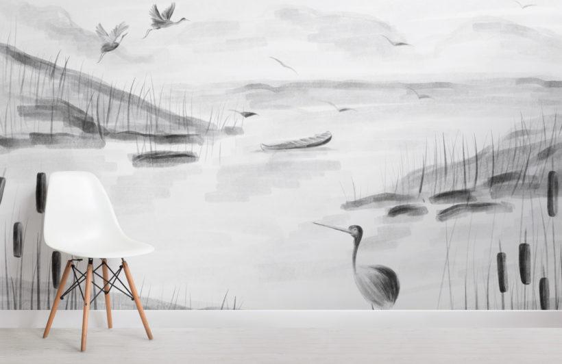 traditional chinese black & white ink lake wallpaper mural