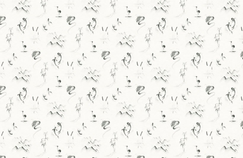 traditional chinese monochrome pattern wallpaper mural