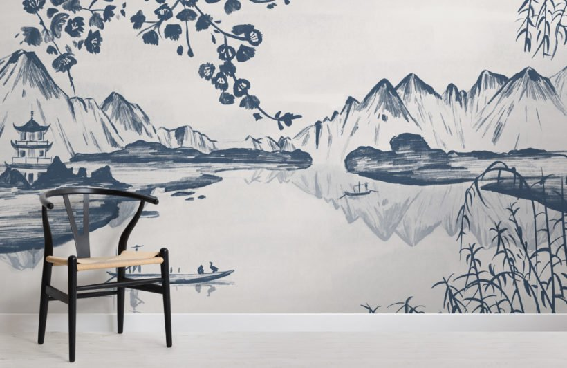 traditional chinese willow & mountain ink wallpaper mural