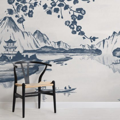 Traditional Chinese Willow & Mountain Ink Wallpaper Mural Image