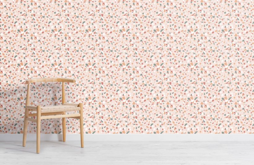 trendy green & orange terrazzo repeat pattern wallpaper