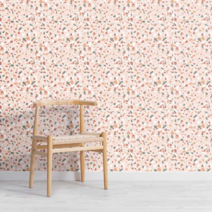 Trendy Green & Orange Terrazzo Repeat Pattern Wallpaper Image