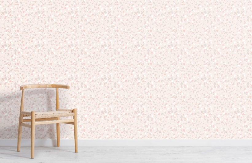 trendy neutral & pink terrazzo repeat pattern wallpaper