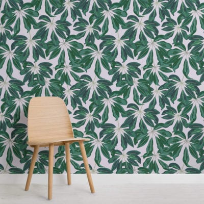 image of tropical banana leaf wallpaper wall mural with chair and flooring
