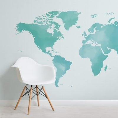 turquoise abstract watercolour world map wallpaper mural