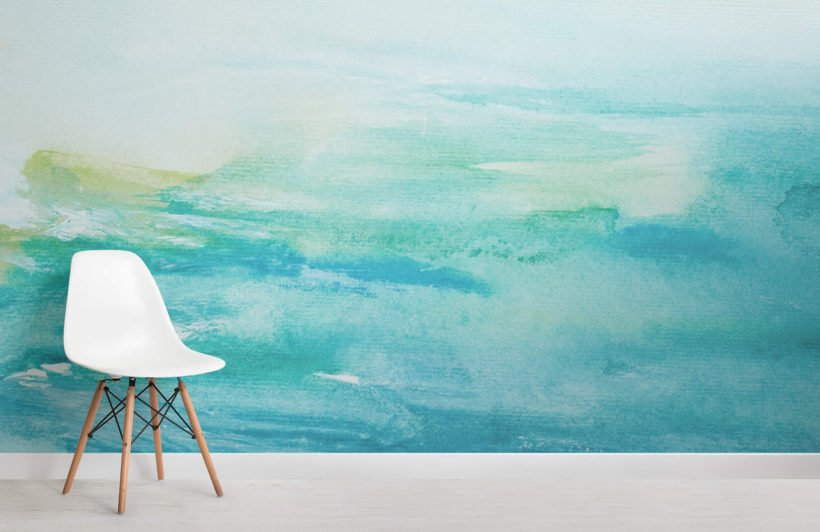 turquoise-watercolour-room-wall-murals