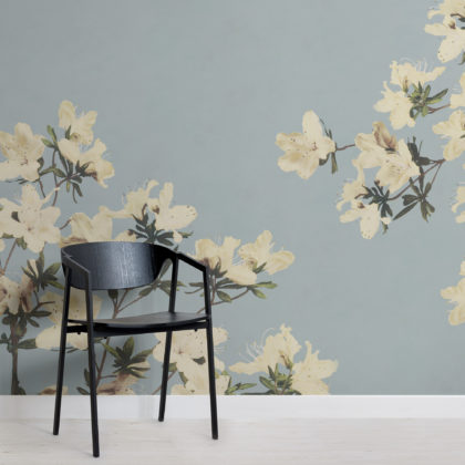 Vintage Cream & Blue Japanese Floral Wallpaper Mural Image