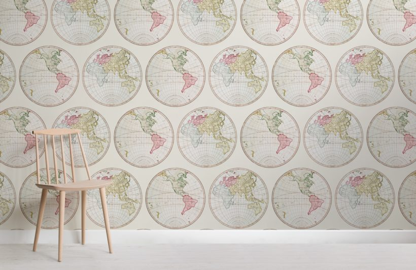 vintage illustration world map pattern wallpaper mural
