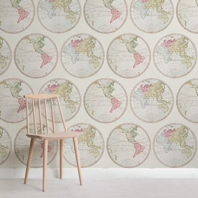 vintage illustration world map pattern wallpaper mural
