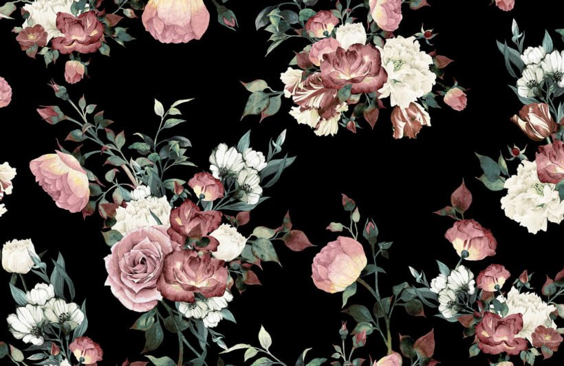 vintage-pink-and-cream-dark-floral-plain-wall-mural