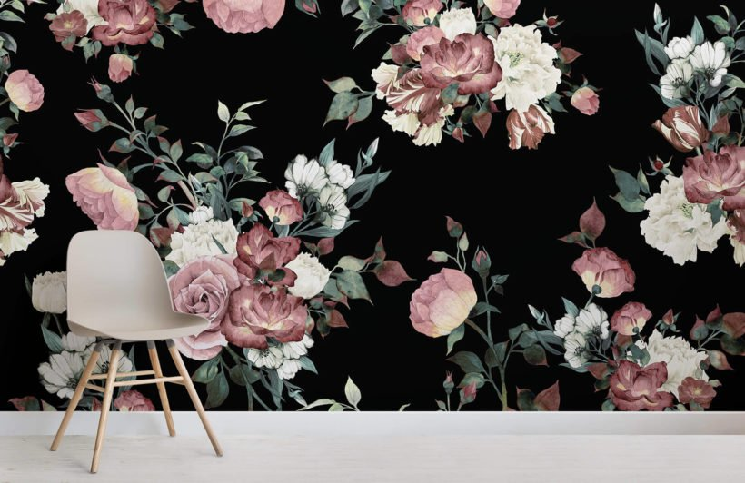 vintage-pink-and-cream-dark-floral-room-wall-mural