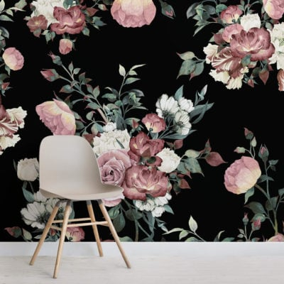 vintage-pink-and-cream-dark-floral-square-wall-mural