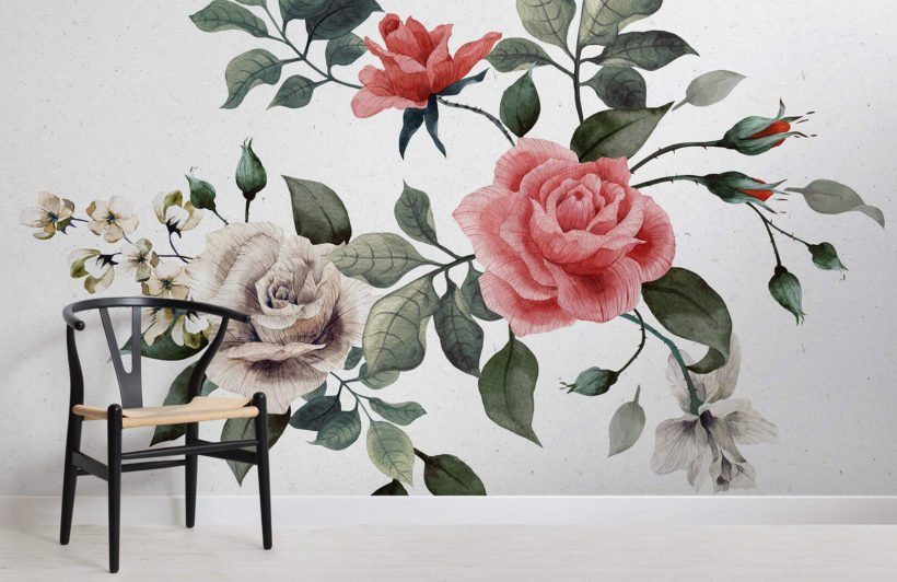 vintage-red-white-roses-flower-room-wall-murals