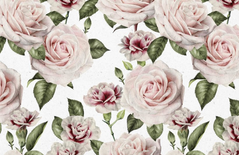 vintage-roses-carnations-flower-plain-wall-murals