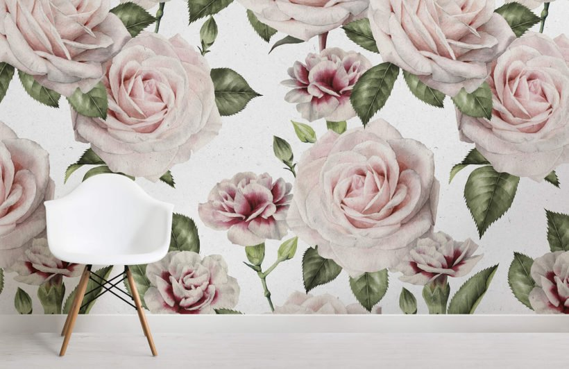 vintage-roses-carnations-flower-room-wall-murals
