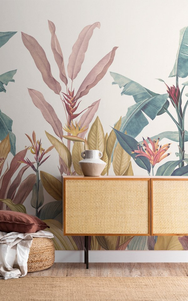 Dusty Pink & Teal Vintage Tropical Minimalist Wallpaper Mural Image