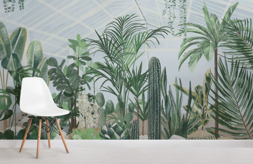 watercolour botanical greenhouse wallpaper mural