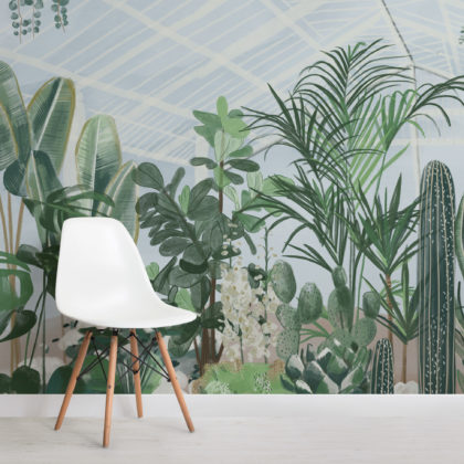Watercolour Botanical Greenhouse Wallpaper Mural Image