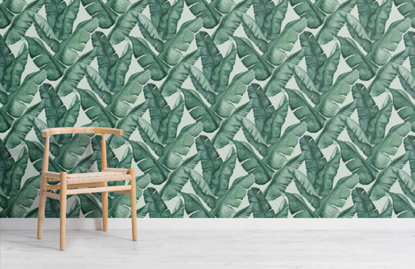 watercolour-green-tropical-leaves-repeat-pattern-wallpaper