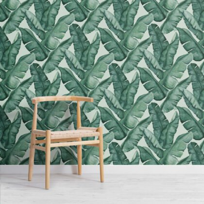 Watercolor Green Tropical Leaves Repeat Pattern Wallpaper Image