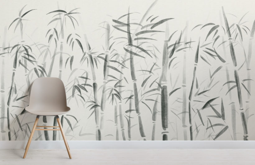 watercolour traditional chinese bamboo wallpaper mural