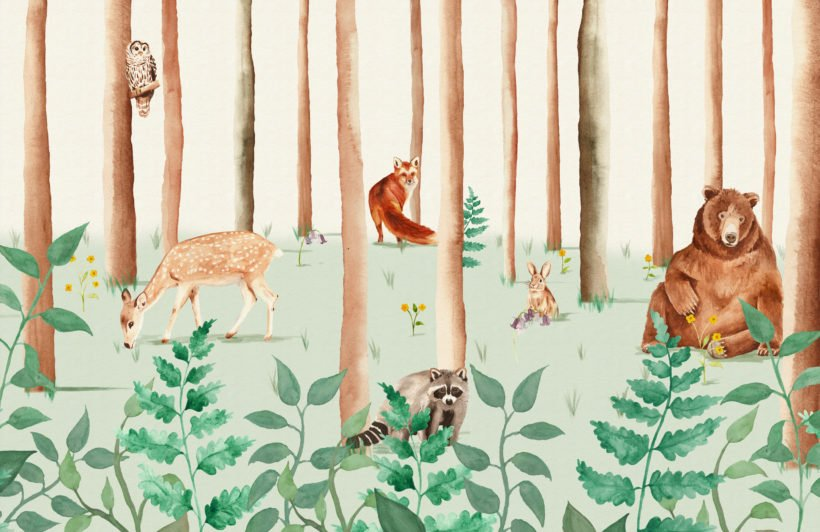 watercolour-woodland-animals-wallpaper-mural