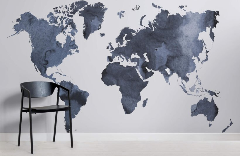 Watercolour World Map Room