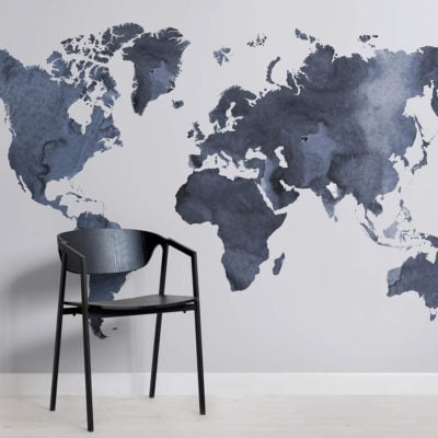 Watercolour World Map Square