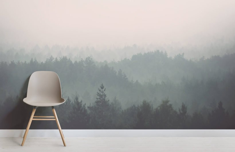 Peach and Green Ombre Forest Wall Mural - Chair