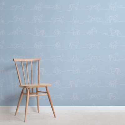 white and blue line drawing horse pattern wallpaper mural