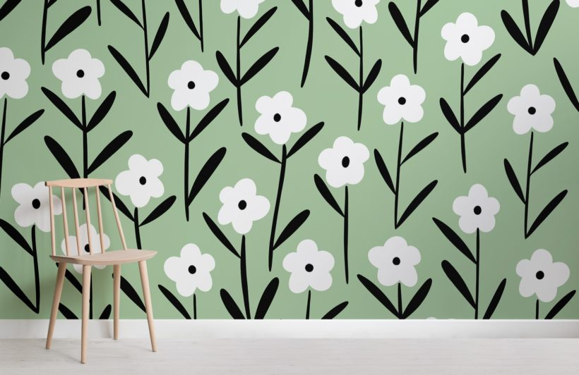 white and green retro floral wallpaper mural