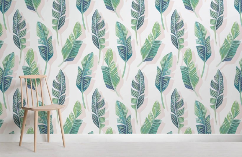 white-and-green-tropical-leaf-design-room-wall-murals