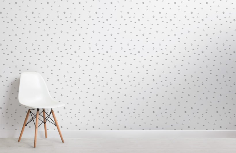 white and grey boho triangle repeat pattern wallpaper
