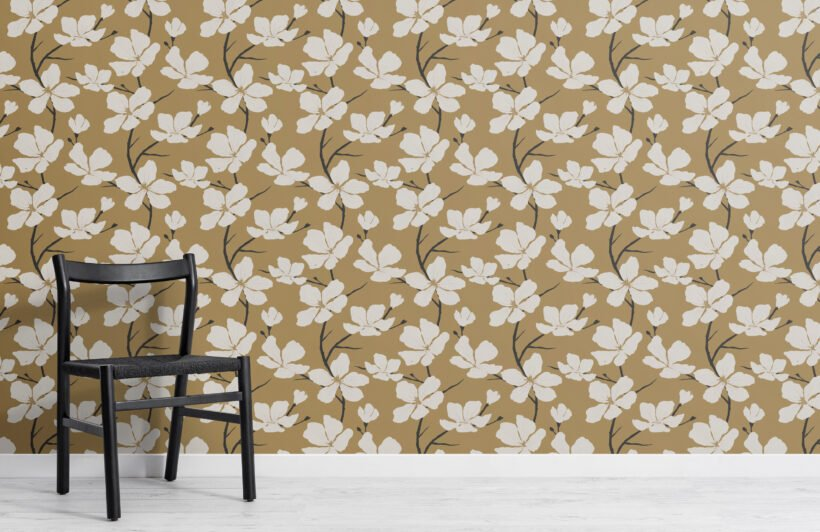 white and mustard illustrated blossom repeat pattern wallpaper