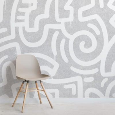 white & grey graffiti concrete effect wallpaper mural