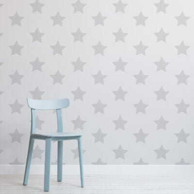 white grey large star repeat pattern wallpaper