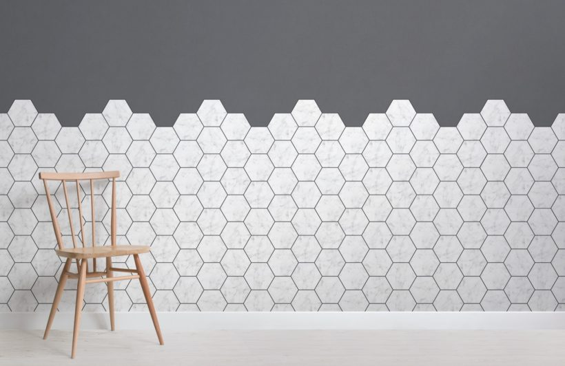 white marble tile effect geometric wallpaper mural