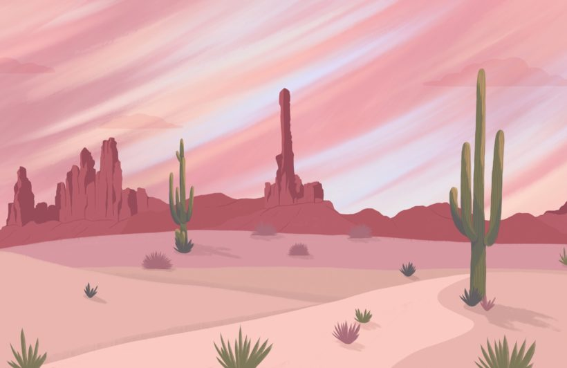 wild west cactus desert wallpaper mural