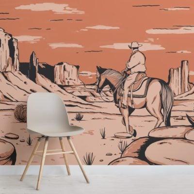 wild west cowboy horse wallpaper mural