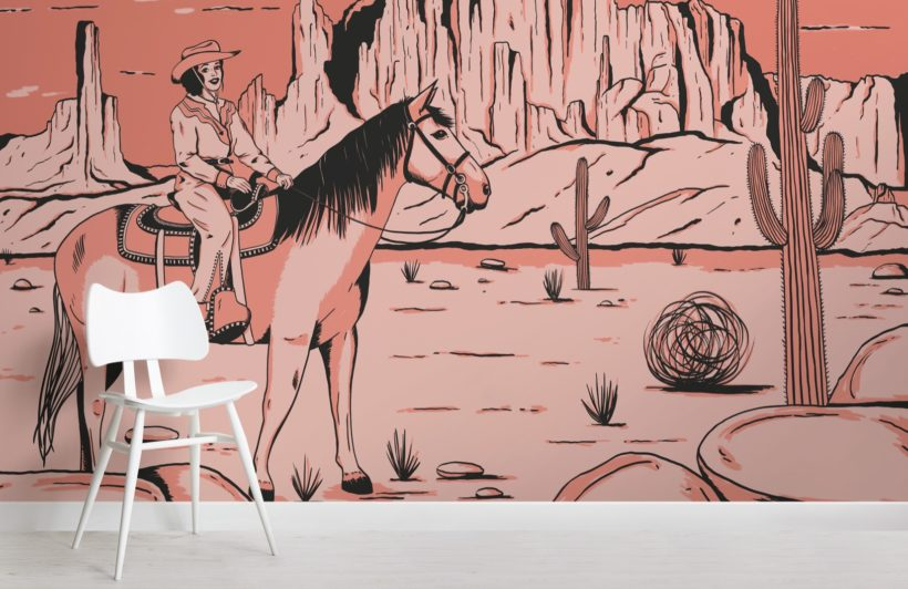 wild west cowgirl horse wallpaper mural