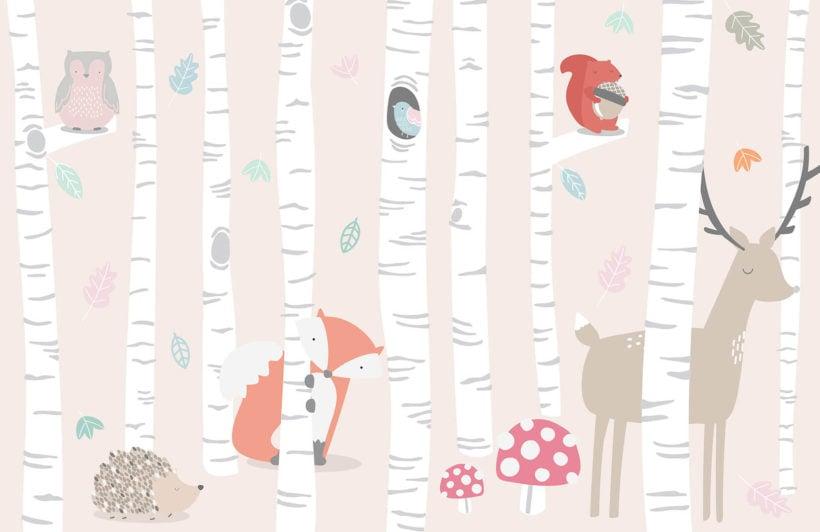 kids-woodland-scene-plain-wall-mural