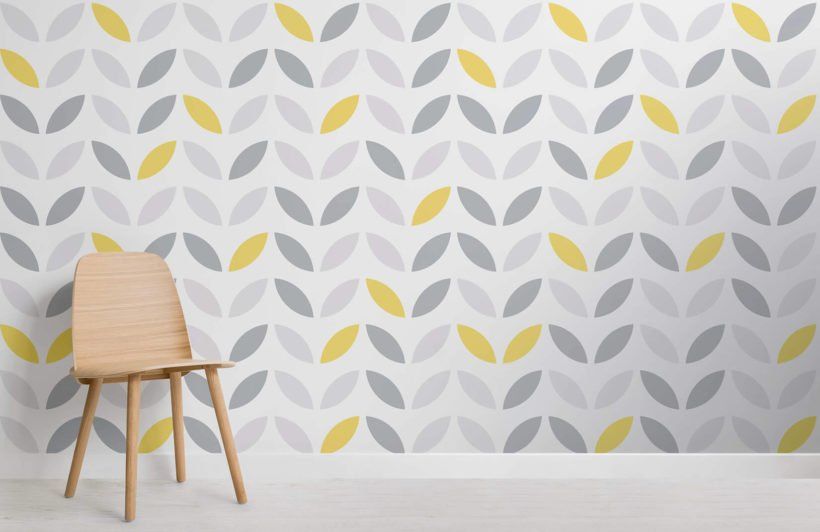 yellow-and-grey-abstract-flower-pattern-design-room-wall-murals